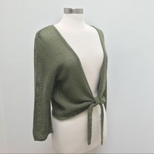 Tie Front Cropped Cardigan - Open Weave